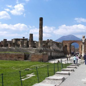 Pompeii: the Forum with the Vesuvius in the distance